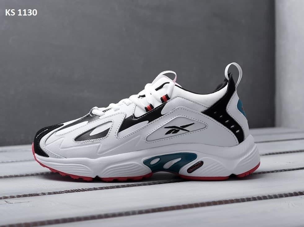 Чоловічі кросівки Reebok DMX (білі з чорним) KS 1130 модне взуття для хлопців