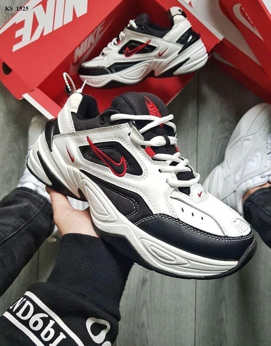 Чоловічі кросівки Nike M2 Tekno (біло-чорно-червоні) якісна весняна взуття KS 1525