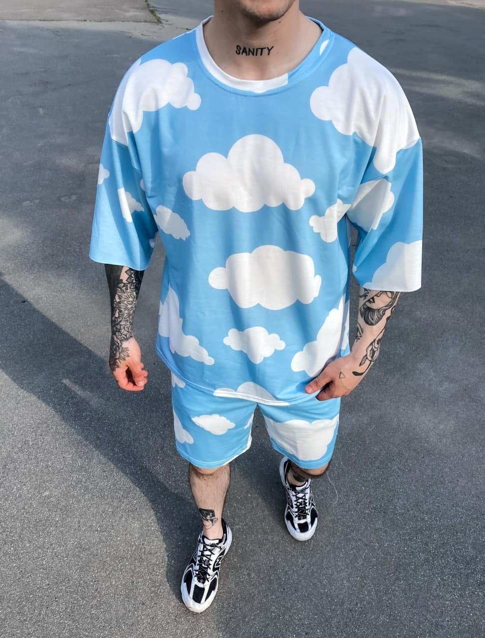 Чоловічий комплект шорти + футболка (синьо-білий) з хмарами на літо Sk49