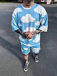Чоловічий комплект шорти + футболка (синьо-білий) з хмарами на літо Sk49, фото 2