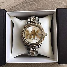Женские часы Michael Kors качественные реплика в коробочке наручные часы с камнями золотистые серебристые
