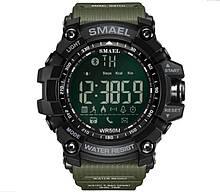 Оригинальные мужские спортивные часы SMAEL 1617 Bluetooth smart watch, наручные спорт часы умные водостойкие Хаки