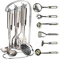 Кухонний набір приналежностей з нержавіючої сталі на стійці Maestro. Набір поварешек на підставці MR-1543