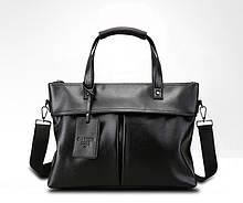 Якісна чоловіча ділова сумка для документів формат А4, офісна сумка-портфель чорна, діловий портфель