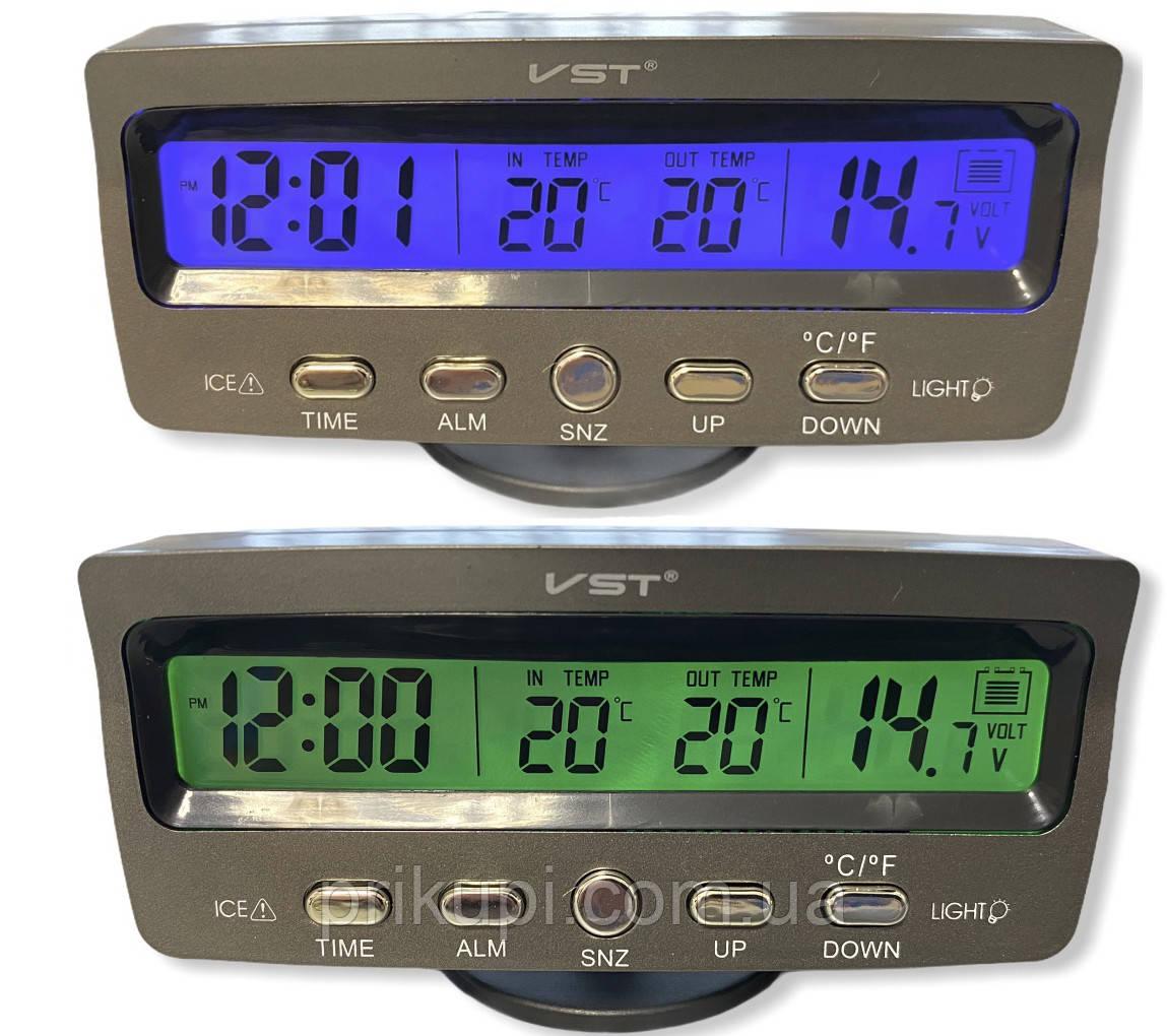 Часы-термометр-вольтметр VST - 7045V (син/зелен) 12В-24В
