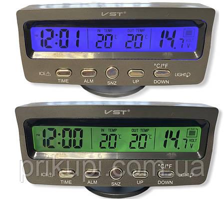 Часы-термометр-вольтметр VST - 7045V (син/зелен) 12В-24В, фото 2
