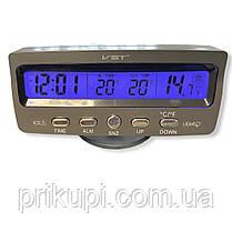Часы-термометр-вольтметр VST - 7045V (син/зелен) 12В-24В, фото 3