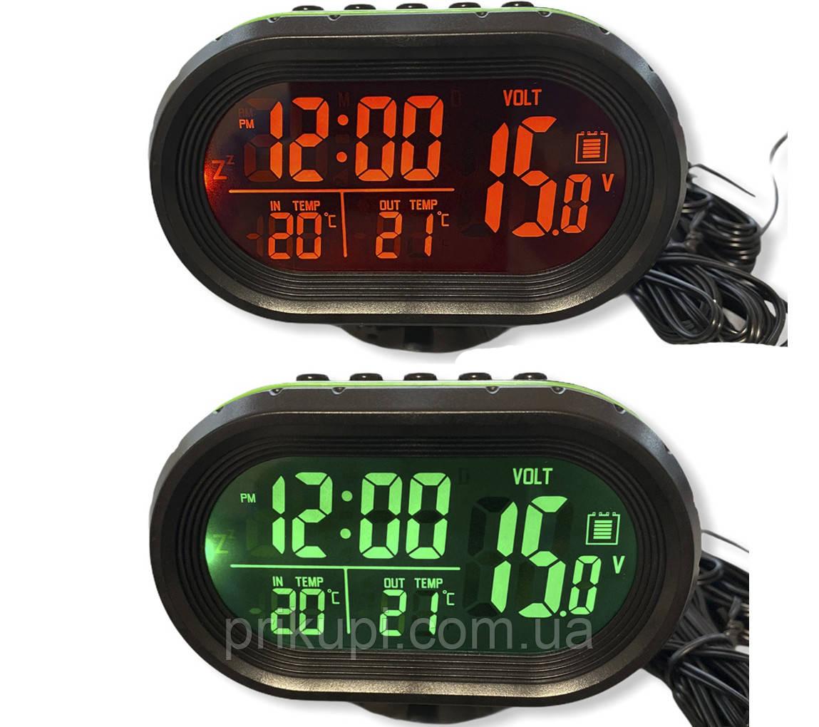 Годинник - термометр - вольтметр VST - 7009V (зел/оранж)