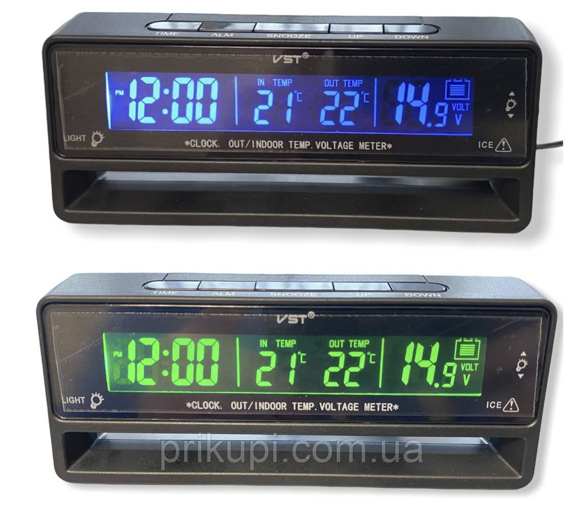 Годинник - термометр - вольтметр VST 7010V зелена/синя підсвітка