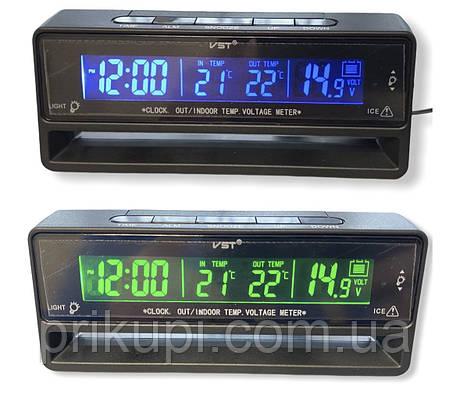 Часы - термометр - вольтметр VST 7010V зеленая/синяя подсветка, фото 2
