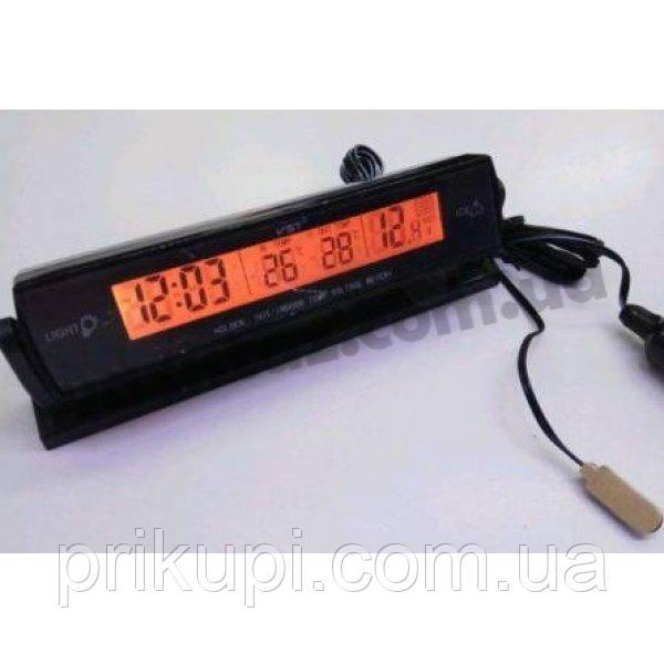 Часы - термометр - вольтметр VST - 7013V / 2 подсветки (синий/оранжевый)