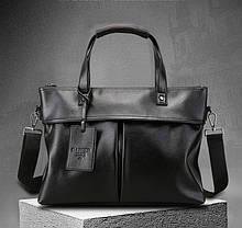 Чоловічий діловий портфель для документів формат А4 ПУ шкіра чорний, Чоловіча сумка офісна ділова сумка-портфель
