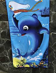 """Коврик полотенце банное для пляжа  красное из микрофибры 65х130 """"Милый дельфин"""" синий"""