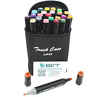 Набор двухсторонних маркеров Touch 24 штуки для рисования скетчинга Sketchmarker на спиртовой основе