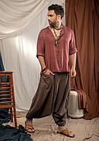 Мужские штаны однотонные для йоги брюки-алладины стильные