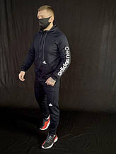 Чоловічий спортивний костюм Адідас Neo чорний, якісні чоловічі спортивні штани Adidas репліка XXL