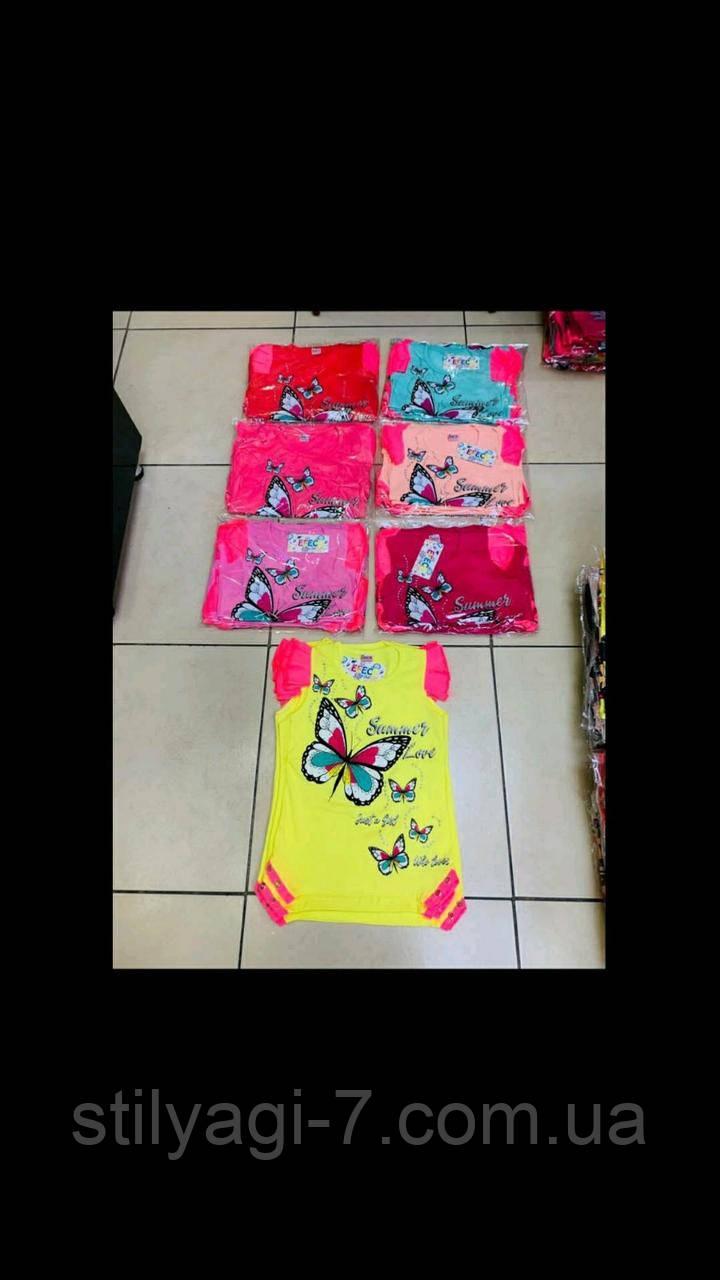 Туніка для дівчинки 5-8 років персикового, м'ятного, рожевого, малинового, жовтого кольору метелик оптом