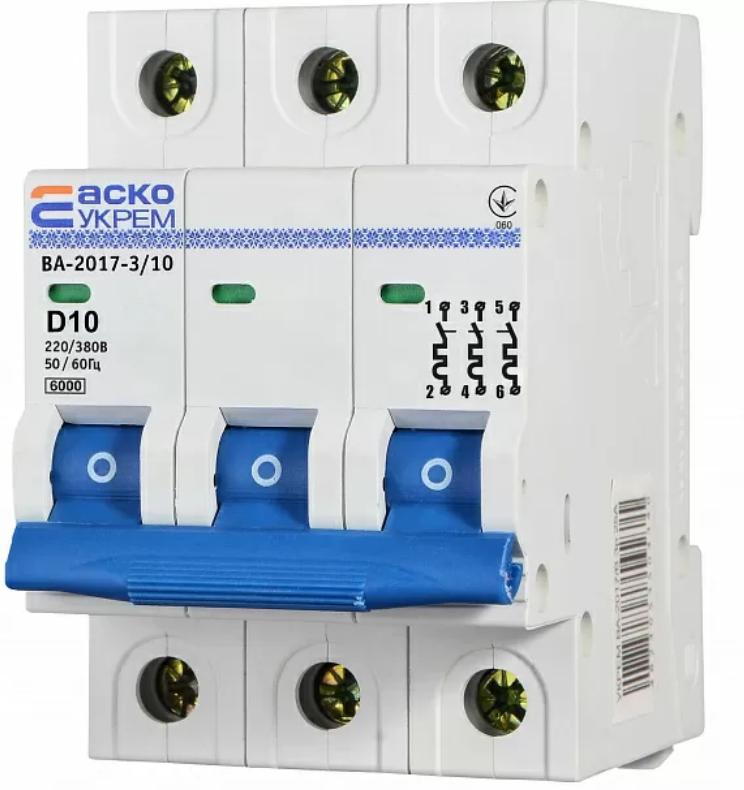 Автоматичний вимикач УКРЕМ ВА-2017/D 3р 10А АСКО A0010170100