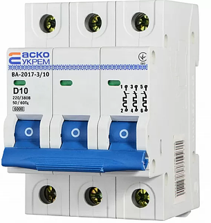 Автоматичний вимикач УКРЕМ ВА-2017/D 3р 10А АСКО A0010170100, фото 2