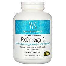 """Жирные кислоты для женщин Natural Factors, WomenSense """"RxOmega-3"""" с маслом примулы (120 гелевых капсул)"""