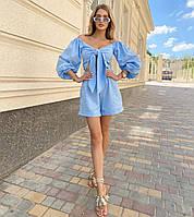 Женский льняной костюм топ и шорты с завышенной талией