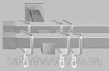 Карниз для штор металевий ЗАГЛУШКА подвійний Квадро 20*20мм 2.4 м Сатин нікель
