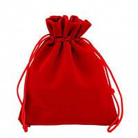 Бархатный красный мешочек для упаковки подарка