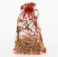 Полупрозрачный мешочек из органзы для упаковки подарка, 12*16 см