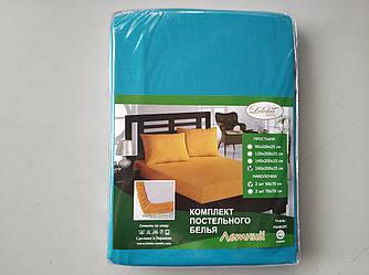 Постельное белье Летнее ранфорс простынь на резинке с наволочками Бирюзовый Лелека Текстиль