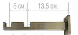 Карниз для штор металевий ЗАГЛУШКА подвійний Квадро 20*20мм 1.6 м Сатин нікель, фото 6