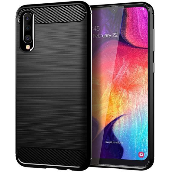 Силиконовый противоударный чехол Polished Carbon для Samsung Galaxy A50 (A505F) / A50s / A30s