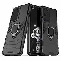 Чехол Fiji Ring для Samsung Galaxy S21 Ultra (G998) бронированный бампер с кольцом черный