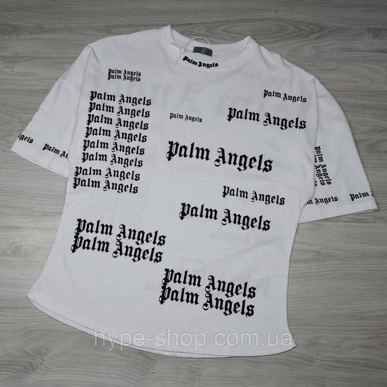 Мужская белая футболка Palm Angels с качественным принтом