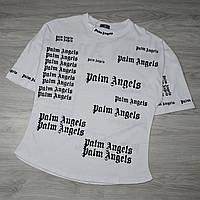 Мужская белая футболка Palm Angels с качественным принтом, фото 1