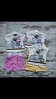 Костюм для девочки на 1-4 лет желтого, розового, персикового, мятного цвета девочка оптом