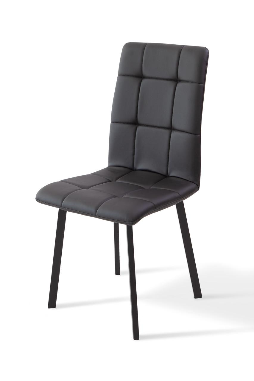 Стілець обідній на металевих ніжках Трініті Мікс меблі, колір чорний + чорний кожзам