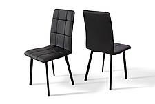Стілець обідній на металевих ніжках Трініті Мікс меблі, колір чорний + чорний кожзам, фото 3