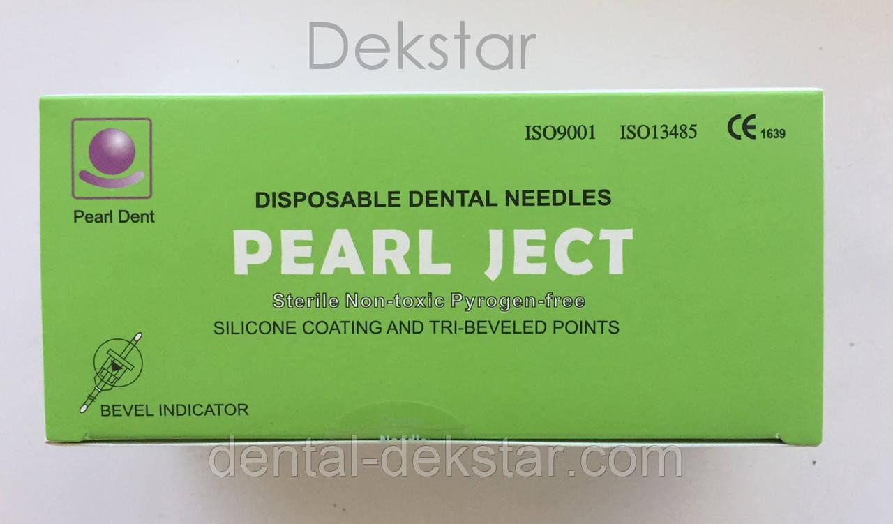 Иглы cтоматологичеcкие каpпульные PEARL JECT ( 100 шт ),METRIC ( Е 0,3*25 мм ) зеленые