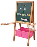 Мольберт детский Бабочка Грин магнитный, двухсторонний, розовые корзины. РК40