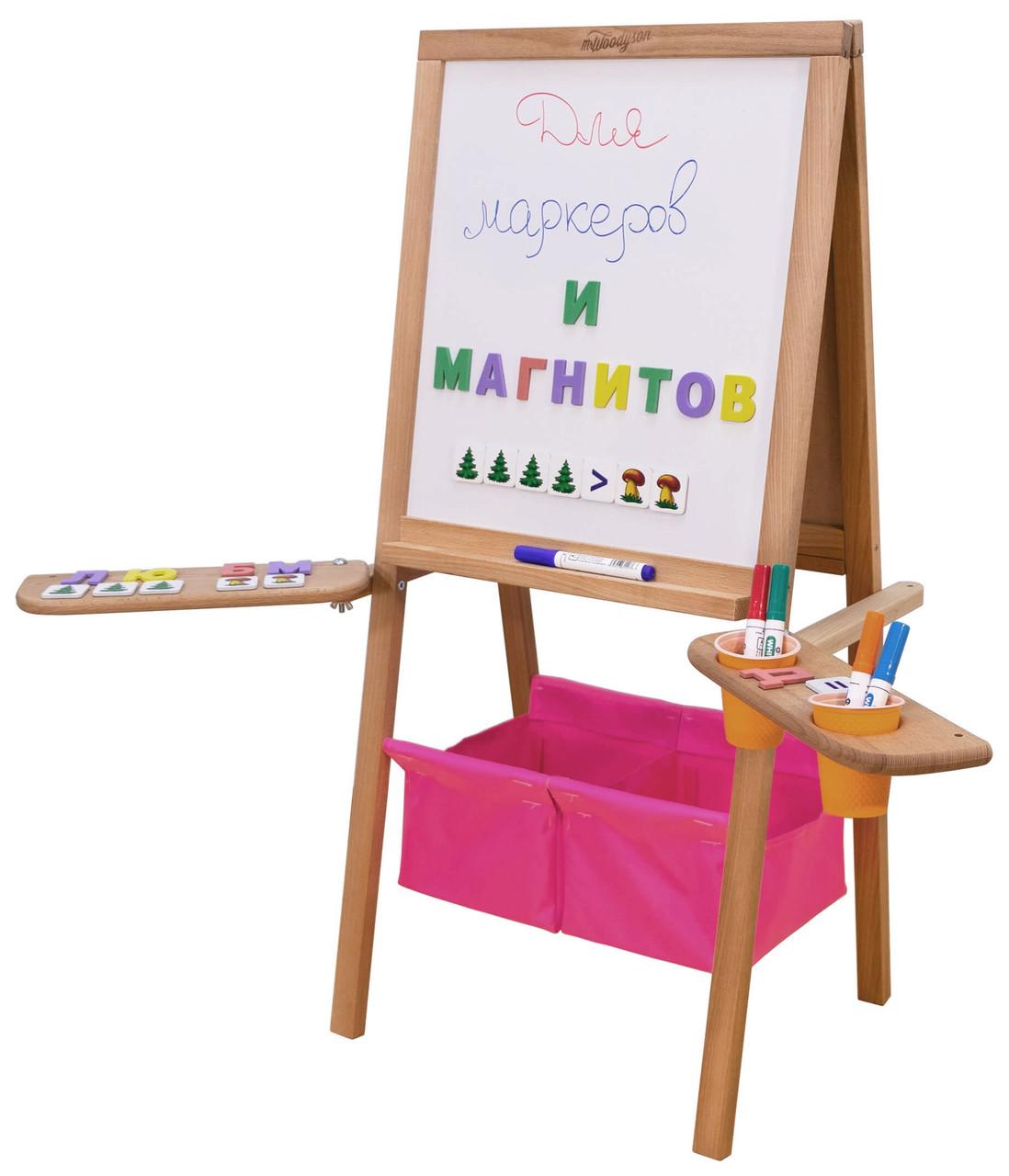 Мольберт дитячий Метелик магнітний, двосторонній, рожеві кошика. РК42