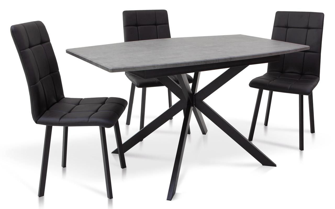 Стол обеденный раскладной на металлической ножке Ричард 140 Микс мебель, цвет серый + столешница серая