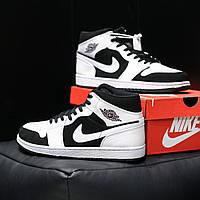 Мужские белые с черным кросовки Air Jordan 1 Retro
