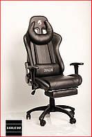Кресло геймерское Zano Dragon (черное) игровое компьютерное кресло с подставкой для ног и подголовником