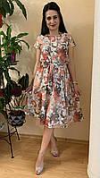 Платье с коротким рукавом с нежными цветами
