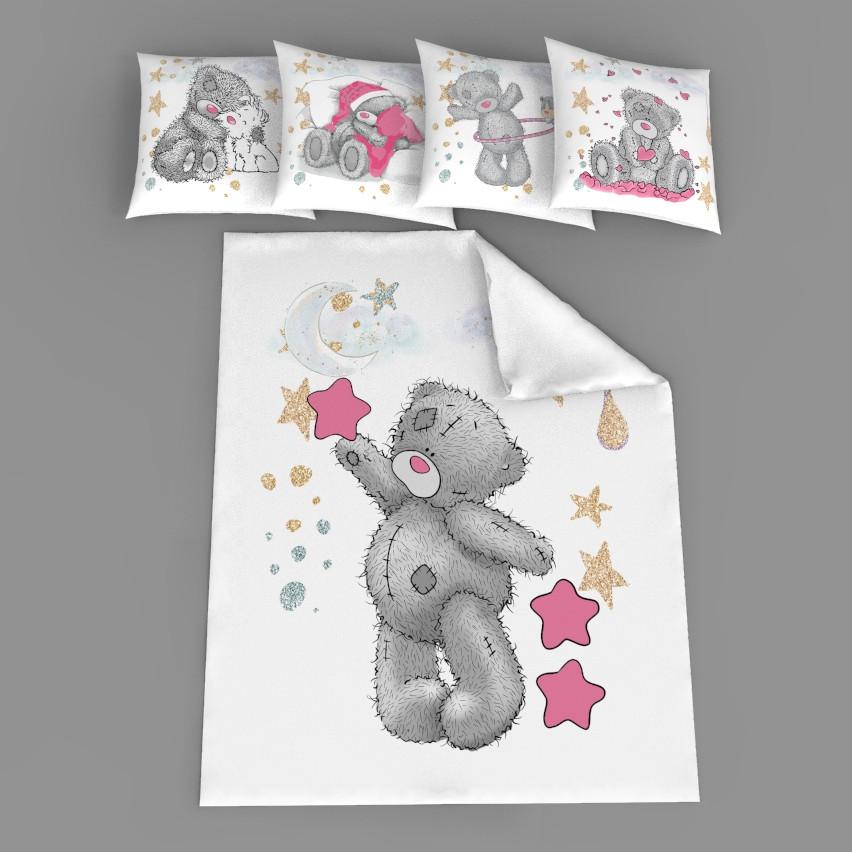 """Набор сатинових панелек """"Мишка Тедди с розовой звездой"""""""