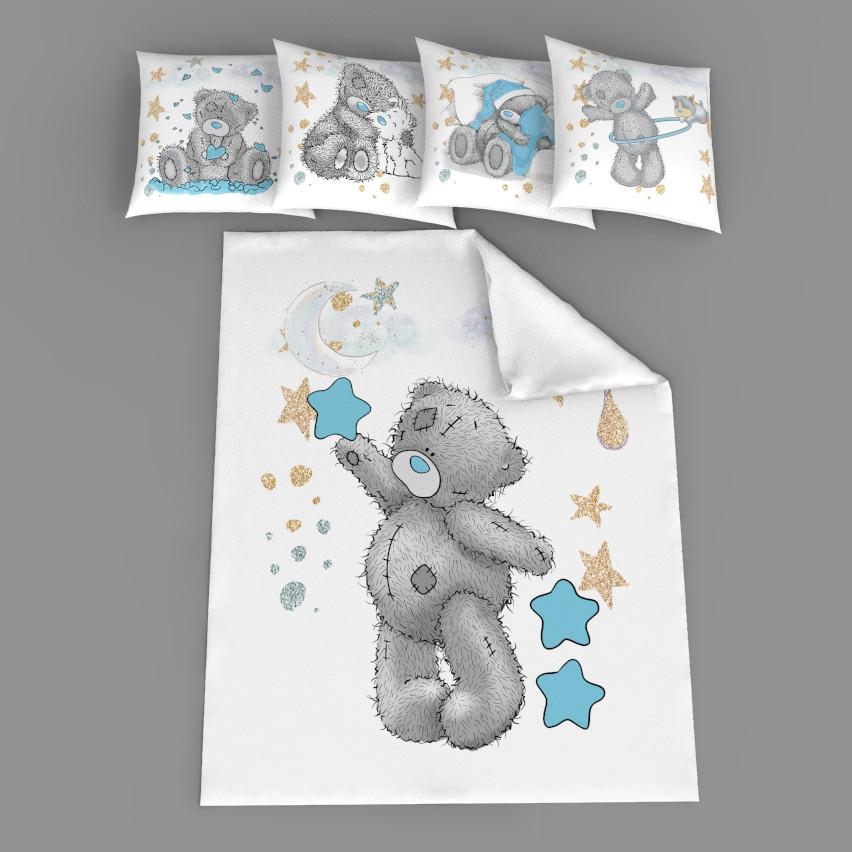 """Набор сатинових панелек """"Мишка Тедди с голубой звездой"""""""