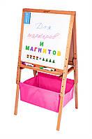 Мольберт дитячий Гроу регульований по висоті, магнітний, двосторонній, рожеві кошика кошика. РК51