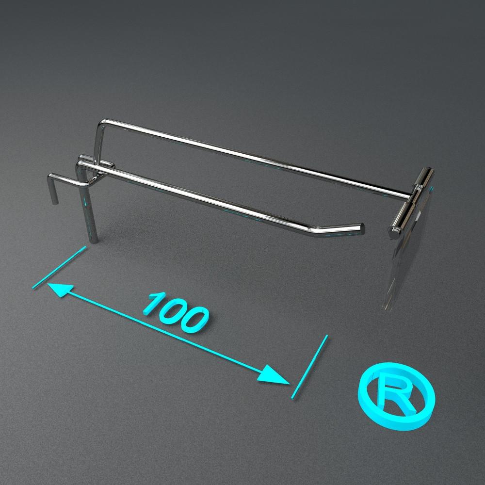 Кронштейн торговый на сетку с ценникодержателем 100 мм
