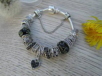 Женский браслет Szelam в стиле пандора Luxury Crystal 18см Серебряный Blak