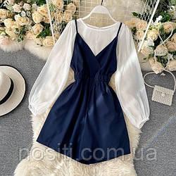 Жіночий костюм комбінезон і блуза